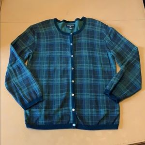 Nautica plaid cardigan sweater 3/4 sleeves Medium